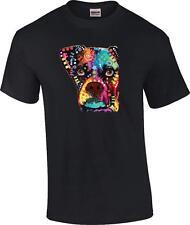 Dean Russo Boxer Cubism Neon Fluorescent Blacklight Patchwork Dog T-Shirt