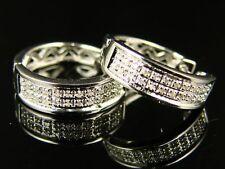 New Mens/Ladies Round Diamond Hoops Huggies 15Mm Earrings