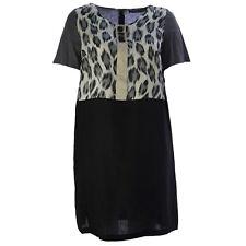 MARINA RINALDI Women's Grey Dumas Leopard Print A-Line Dress $425 NWT