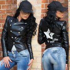FOGGI Damenjacke Lederlook Blazer Übergangsjacke Freizeitjacke 34 - 38 #F151