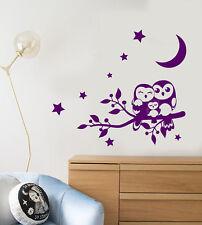 Vinyl Wall Decal Cartoon Family Owl On Branch Stars Night Birds Stickers 2516ig