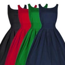 UK Ladies Flared Franki Womens Sleeveless Skater Dress Black/Red/Blue/Green