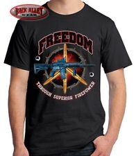 FREEDOM THRU SUPERIOR FIREPOWER T-SHIRT M-5XL AR15 M16 Tee ~ GUN Rights 2nd