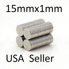 lot 100 500 15mm X 1mm Neodymium Disc Strong Rare Earth N48 Small Fridge Magnets