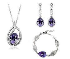 Dark Purple Teardrop Shiny Costume Jewellery Bracelet Necklace Set Earrings