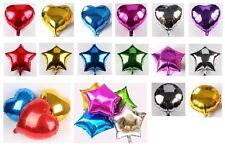 "1-24x 10"" 18"" Heart Round Star Solid Foil Balloon Helium Baby Shower Bride BDAY"