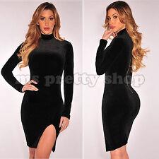 Black Collared Mock Velvet Long Sleeves Split Thigh Sheath Party Evening Dress