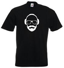 Music DJ Hipster Headphones Beard Mens Dance Disc Jockey Drum Bass Party TSHIRT