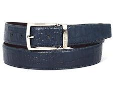 Paul Parkman para Hombres Cinturón de Cuero de Piel de Becerro Cocodrilo En Relieve Pintado a Mano Azul Marino (I