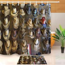 "Western Cowboy Hats Store Shower Curtain Bathroom Mat Waterproof Fabric 72X72"""