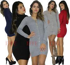 Miniabito Maxipull donna maglione vestito maxi cardigan abito strass lana 88392