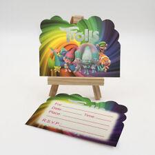 SET OF 6 TROLLS PARTY INVITATIONS KIDS,CHILD BIRTHDAY PARTY INVITATION CARD UK