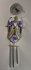 Windspiel Engel Silber mit Swarowski Kristallen Bestückt Gold Plattiert Neu