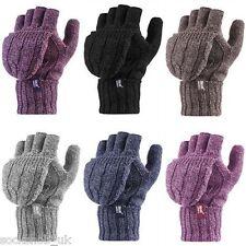 Heat Holders - Womens Winter Warm Thermal Fingerless Converter Gloves / Mittens