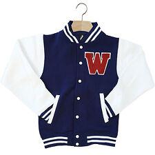 Varsity Baseball Giacca Unisex Personalizzato Con Genuino Us COLLEGE Lettera W