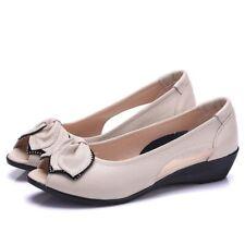 Women Leather Flat Sandals Peep Toe Wedge Low Heel Open Slip-On Summer Shoes