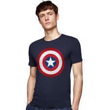 Fashion Casual Captain America Shield Men's Navy Blue T-shirt Size S M L XL 126