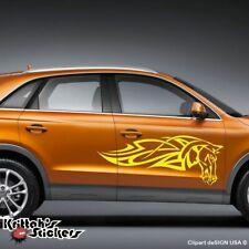 Pair of Horse Bronco Flames Vinyl Car Decal fire sticker tribal art design AF05