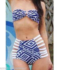 Blue white Aztec tribal high waisted bikini S M L. NWOT