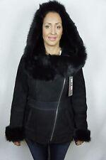 Black Suede Sheepskin Shearling Leather Lambskin Toscana Hood Jacket Coat XS-5XL