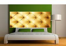 Sticker tête de lit décoration murale Capitonnée doré réf 3620