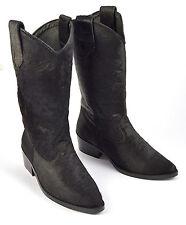 Para Mujer Damas botas de vaquero occidental Negro Riding becerro Cabello Cuero Taco Talla Zapato