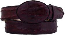 Burgundy Western Cowboy Leather Crocodile Alligator Tail Print Belt Rodeo Buckle
