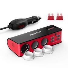 BESTEK 3-Socket 200W 12V/24V DC Cigarette Lighter Power Adapter with 6A 4-Port