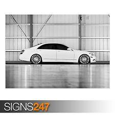 MERCEDES-BENZ S-CLASS S550 WHITE (AA671) CAR POSTER - Poster Print Art A1 A2 A3