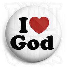 I Love God - Button Badge - 25mm Christian Heart Badges, Fridge Magnet Option