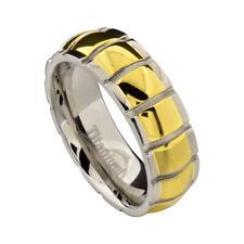 8mm Men Dome Groove Ridge Edge Two-Tone Titanium Men's Engagement Wedding Ring
