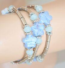 BRACCIALE donna argento a molla elastico cristalli fiori madreperla azzurri 85N