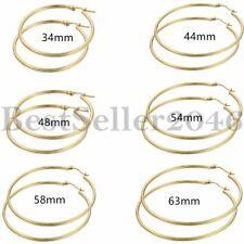 Women Ladies Stainless Steel Big Large Circle Hoop Dangle Earrings Gold Tone