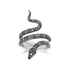 Gemondo Plata De Ley 0.50 Marcasita Arte Noveau Serpiente Anillo