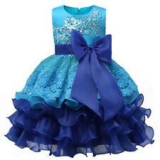 Nuovo abito tutu cerimonia matrimonio feste bambina 2-8 anni vari colore dress