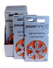 60x Genuine PowerOne Hearing Aid Batteries PR48, p13, Size 13 NEW Expire 2019