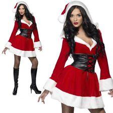 Ladies Hooded Santa Deluxe Christmas Fancy Dress Costume S-L