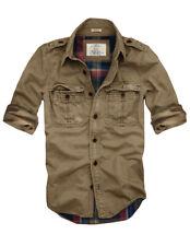 Mens Cali Holi Military  Muscle Fit Flannel Lined Shirt Jacket Khaki 156002