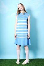 THE WHITEPEPPER Hipster Stripe Knit Midi Dress Blue and White