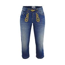 Trachtenjeans Jeans Trachtenhose Caprijeans Damen Hosen Blau Stonewashed Capri