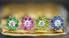 14k White Gold Flower Colored CZ Earrings