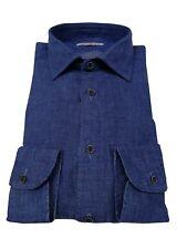 BRANCACCIO camisa de hombre denim tejido estera ajustado 100% lino