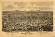 Santa Rosa Sonoma County California Map Bird Eye View Poster Repro FREE S/H