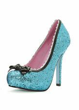 BLUE SPARKLE GLITTER & Fiocco Principessa Stiletto Scarpe 4.5 5.5 6.5 CENERENTOLA POMPE