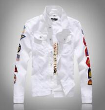 New Men's Jean jackets cowboy fashion embroidered badges denim coat slim outwear