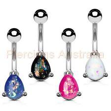 Belly Bar Body Piercing Jewellery Opal Glitter Stone Teardrop Navel Ring