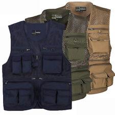 Mens Multi Pocket Vest Mesh Photograph Cargo Hunting Fishing Outdoor Vest Jacket