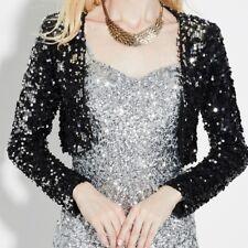 women Sequins Jackets Blazer Coats Shrug Top Cabaret Fancy Dress Stage Costume