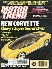 Motor Trend - Oct 1987 - Corvette LT-5  Ferrari F40  Maserati Spyder Buick Regal