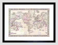1864 Mitchell Mappa del mondo in proiezione di Mercatore VINTAGE incorniciato stampa b12x2225